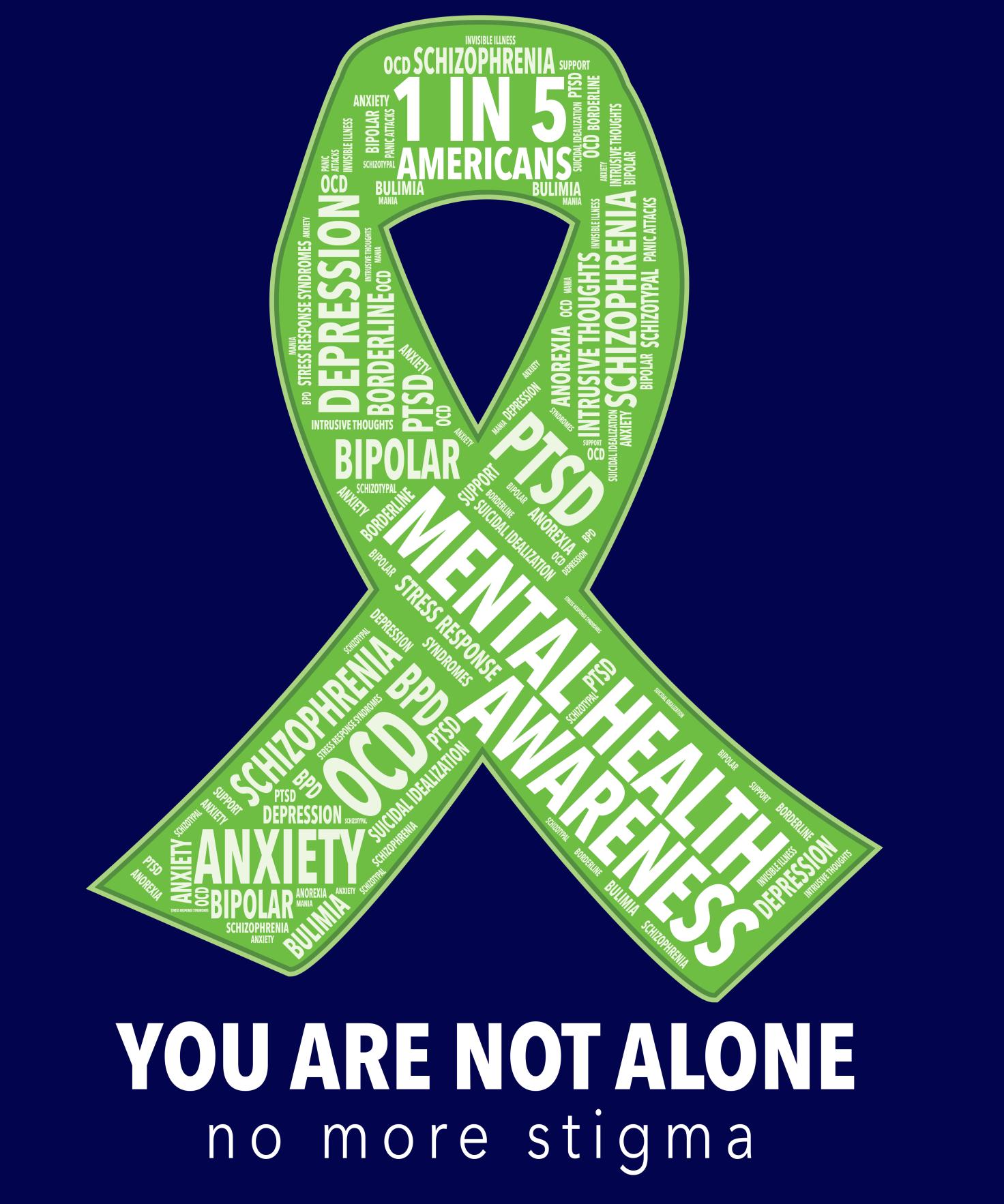 Mental Health Awareness Ribbon Word Cloud Shirt. You are ...