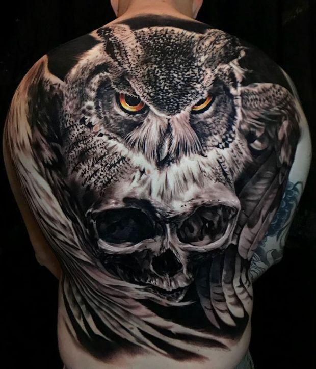 Sowa I Czaszka Tatuaż Na Plecach Tatuajes Tatuajes En La