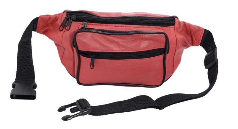 Bauchtasche mit Fronttasche Reißverschluss - Nappa Leder rot