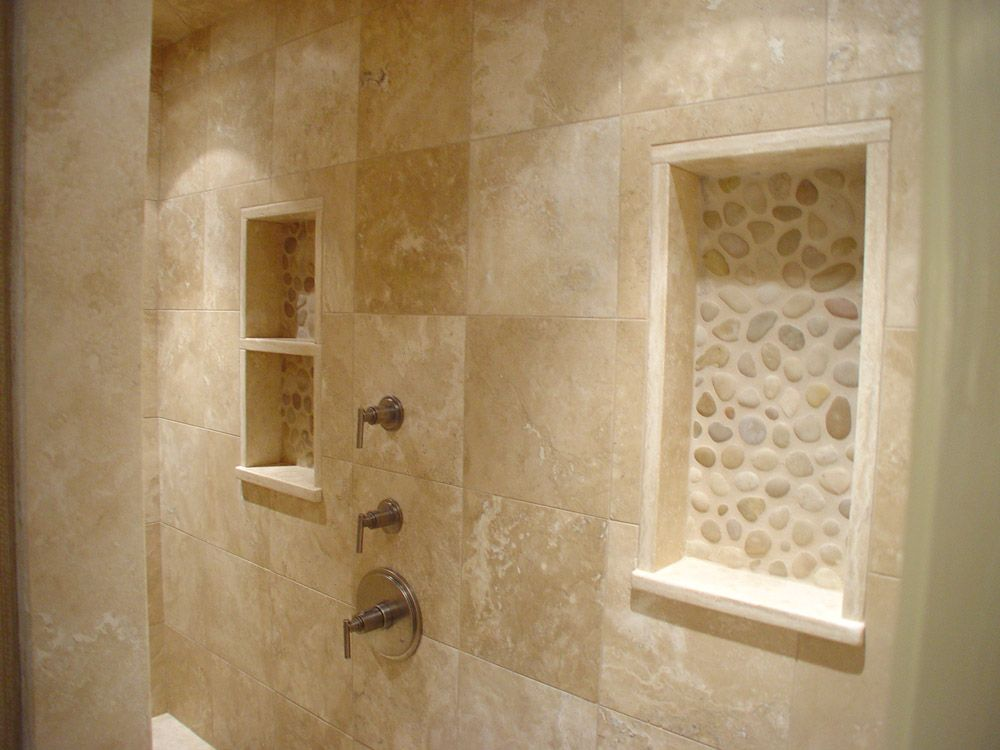 Decorative Travertine Tile Unique River Rock Design Bathrooms  Niches Made Of Travertine