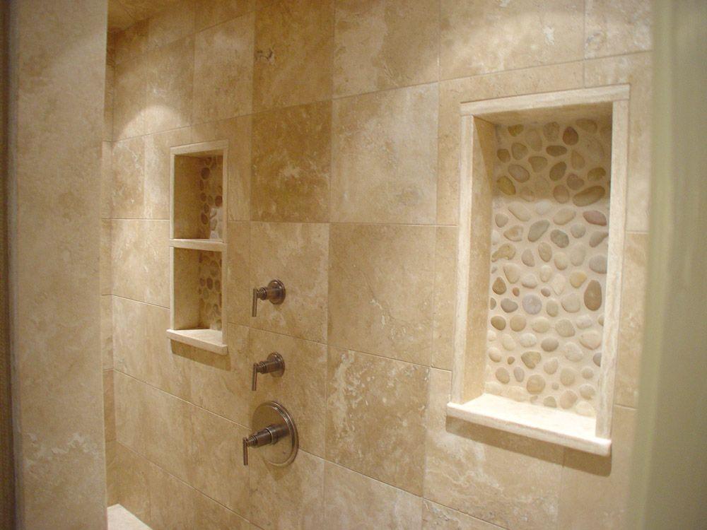 Decorative Travertine Tile Unique River Rock Design Bathrooms  Niches Made Of Travertine