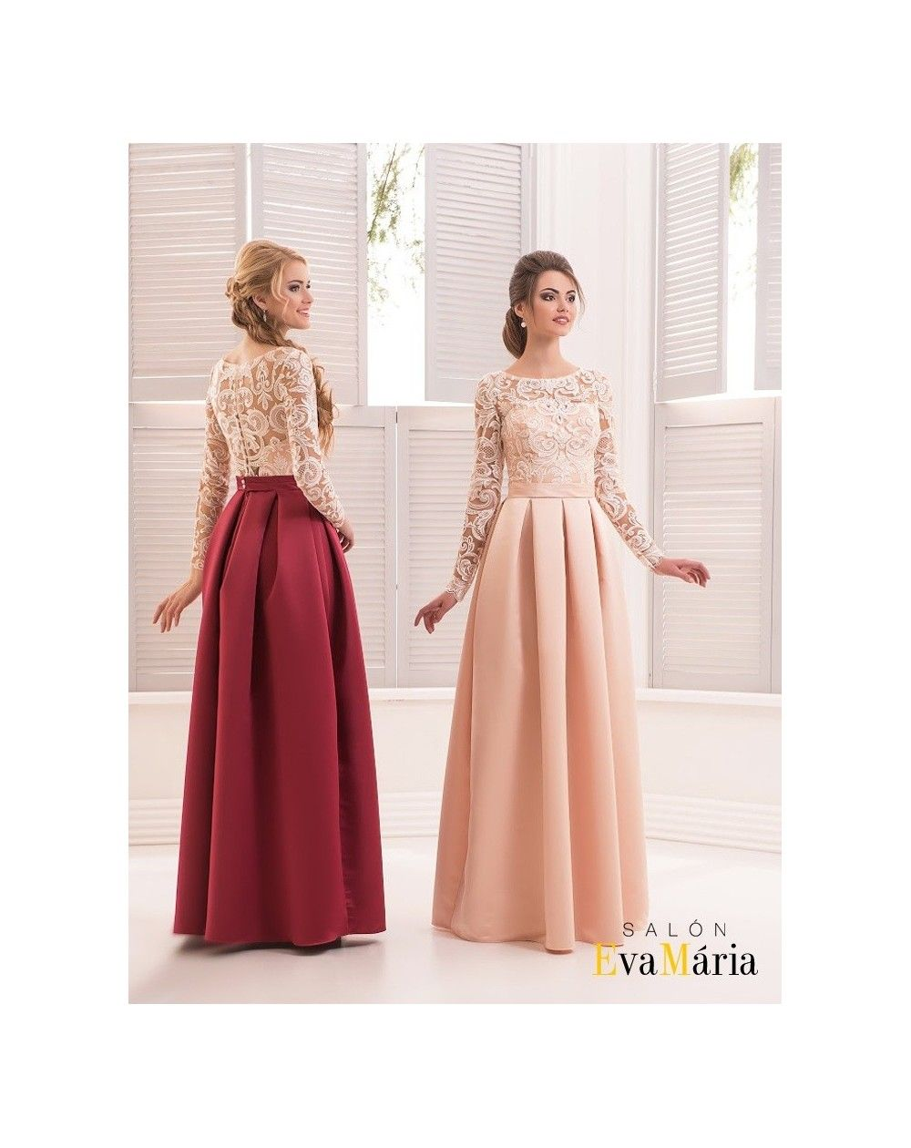 7055f823c3f6 Večerné šaty Monika majú krásne dlhé čipkované rukávy a nádhernú saténovú  sukňu