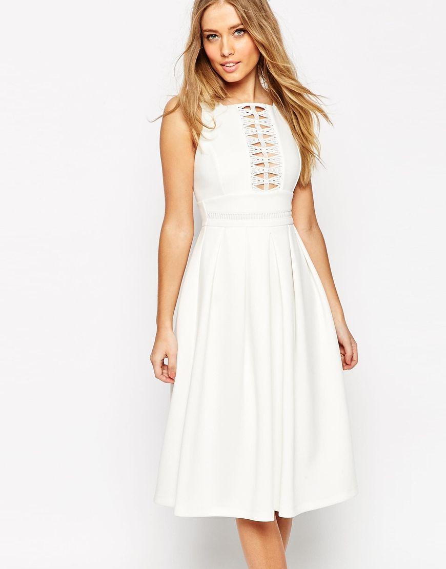Image of asos lace trim debutante midi dress laureen civil