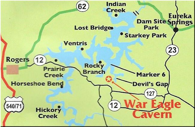 War Eagle Cavern On Beaver Lake - Rogers, Arkansas Boating Map | The on