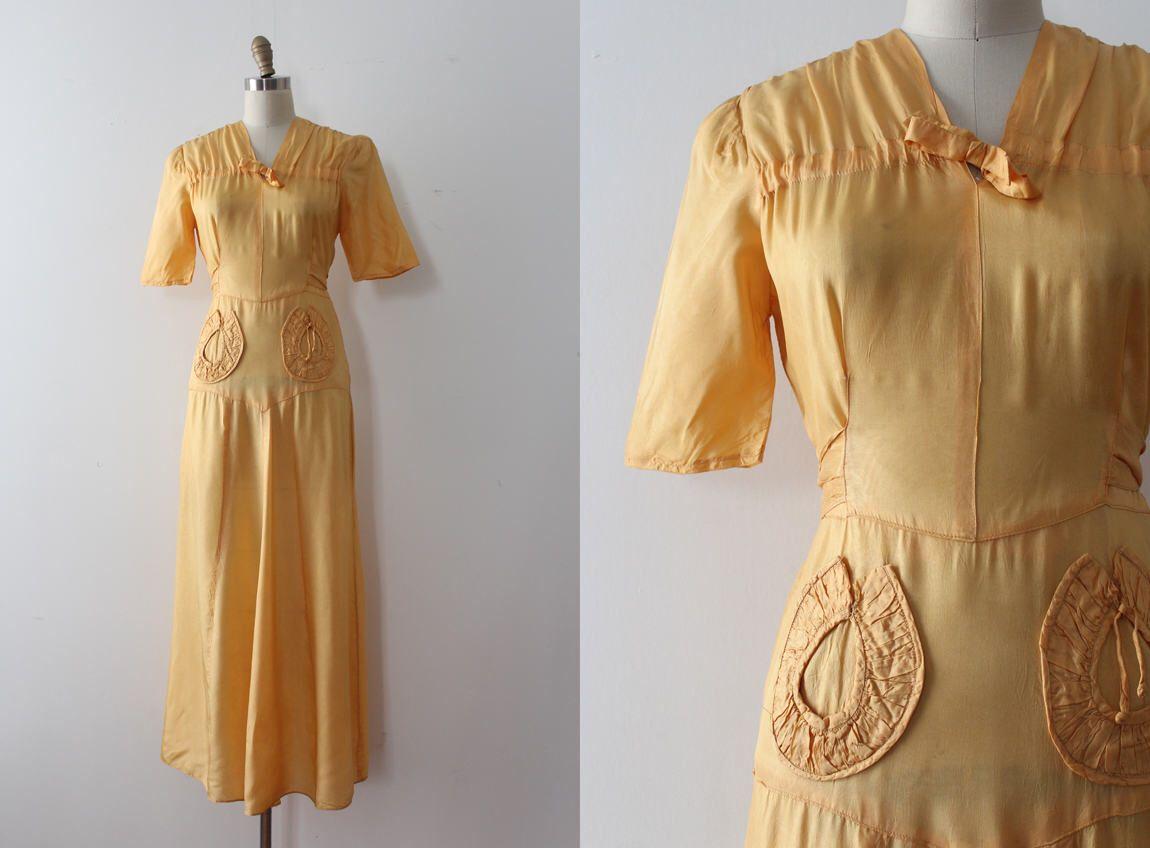 vintage 1930s dress // 30s yellow orange long dress by TrunkofDresses on Etsy https://www.etsy.com/listing/519938011/vintage-1930s-dress-30s-yellow-orange