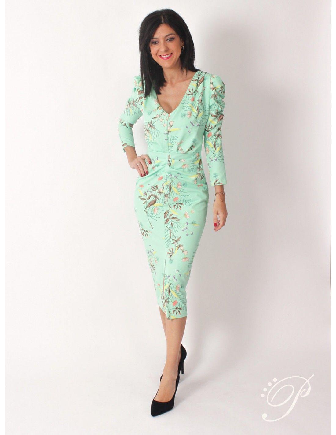 4dba0b63 Vestido May Oriental - Vestido de corte midi con drapeado en color verde y  estampado de