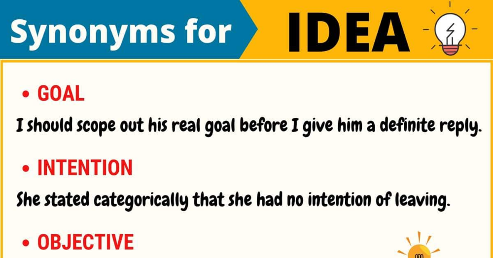 Another Word For Idea List Of 100 Synonyms For Idea 7esl English Lesson Plans Synonym English Vocabulary