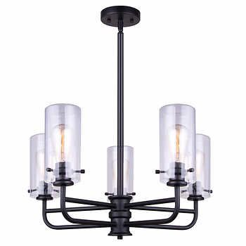 Canarm albany 5 light rod chandelier with clear glass oil rubbed bronze