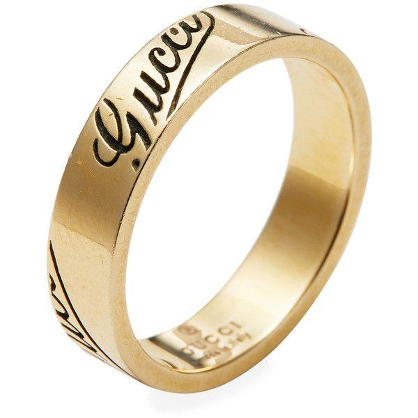 0dd2918dd Gucci Women's Vintage Gucci 18K Yellow Gold Script Logo Thin Band Ring... (
