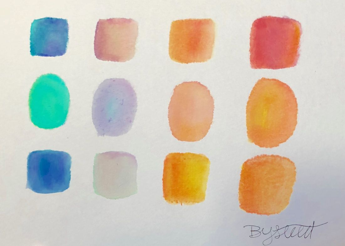Watercolor Orange Red Blue Green Yellow Purple Ombre Mixed Mix Mixing Paint Painting Breannayvonne Breanna Yvonne Art Ar Red Blue Green Purple Ombre Red Orange