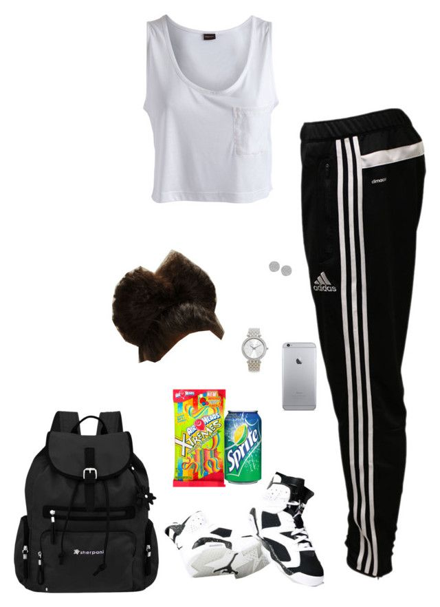 """School✨Gotta Have Snacks✔️"" by princessteauna ❤ liked on Polyvore featuring Pieces, adidas, Karen Kane, Michael Kors and Sherpani"