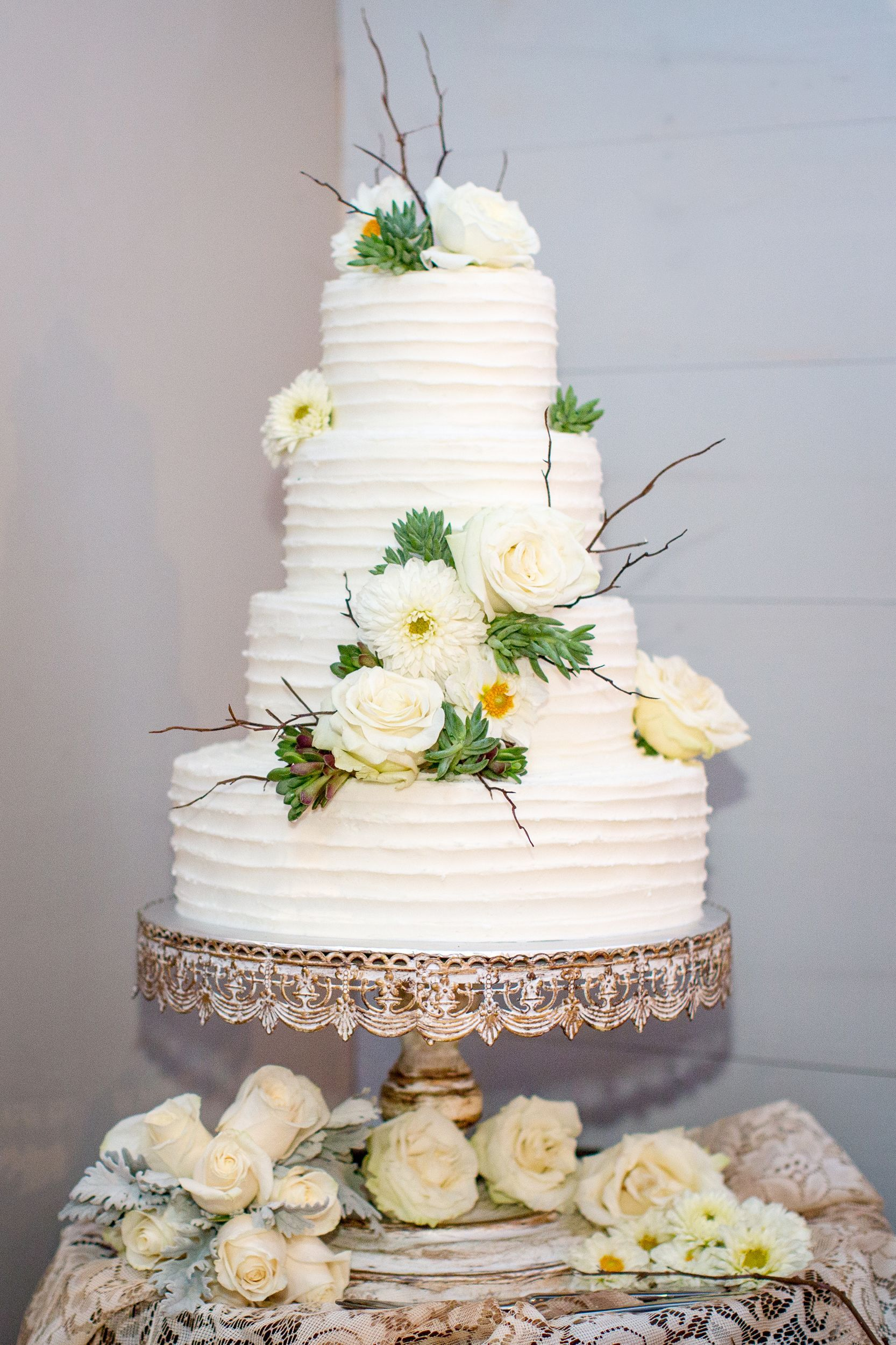 Ivory Wedding Cake with Roses and Daisies Rustic wedding
