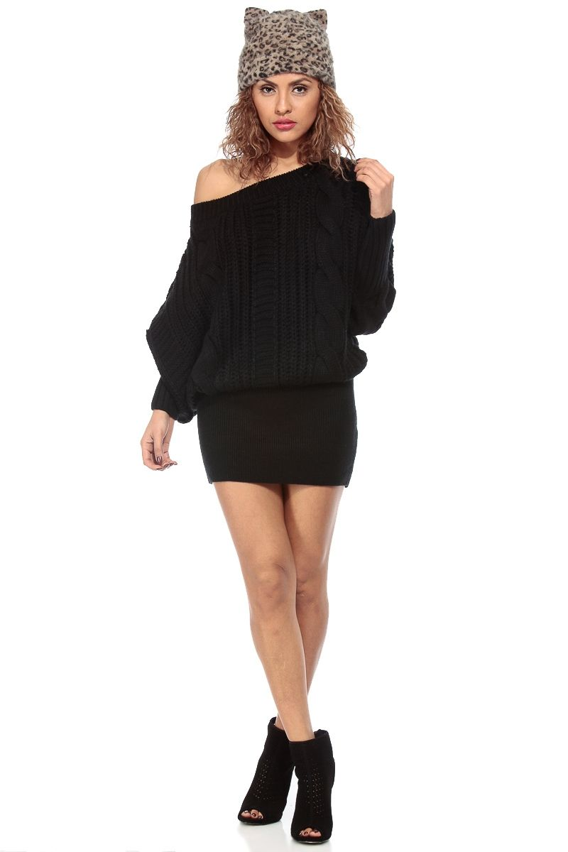 Cute and Cozy Black Chunky Knit Sweater Dress @ Cicihot Clothing ...