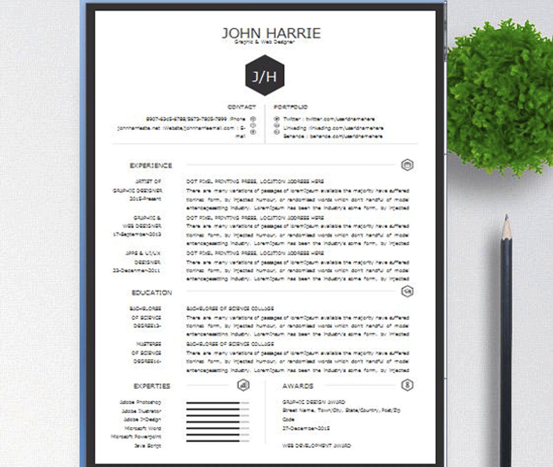 One page resume template, Simple resume, designer cv
