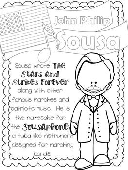 American Composers Coloring Fact Sheets Freebie Music Worksheets Homeschool Music Elementary Music Classroom