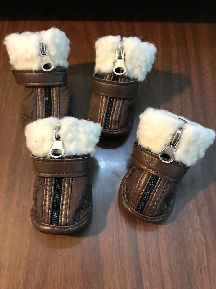 Pup Crew Dog Boots Size Small Pet Puppy Brown White Zipper Up