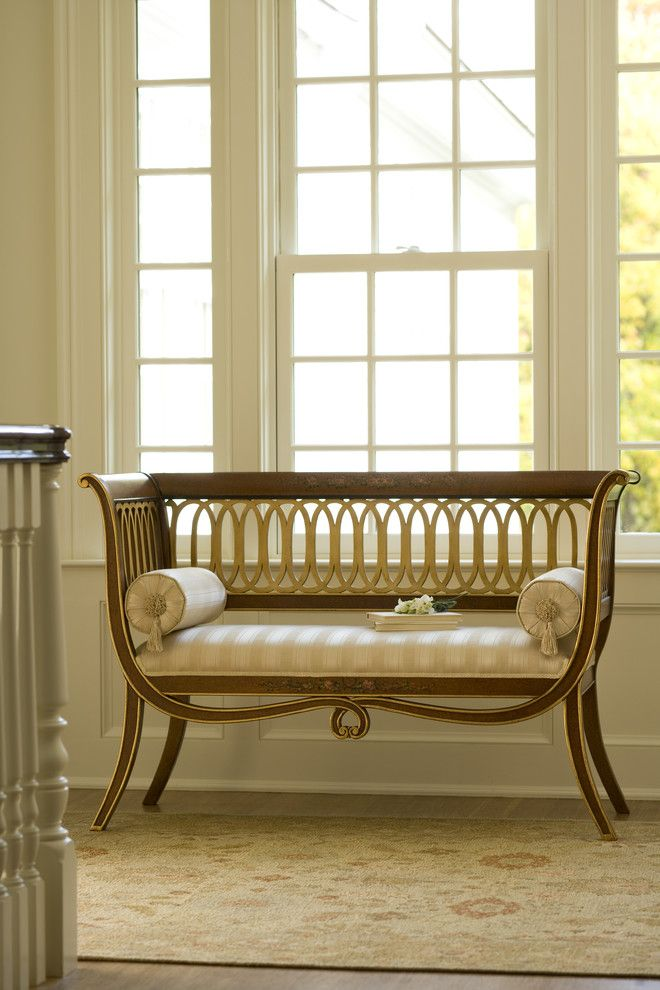 English style carved beechwood settee with satinwood finish and antiqued goldleaf trim. Hand made in Italy.