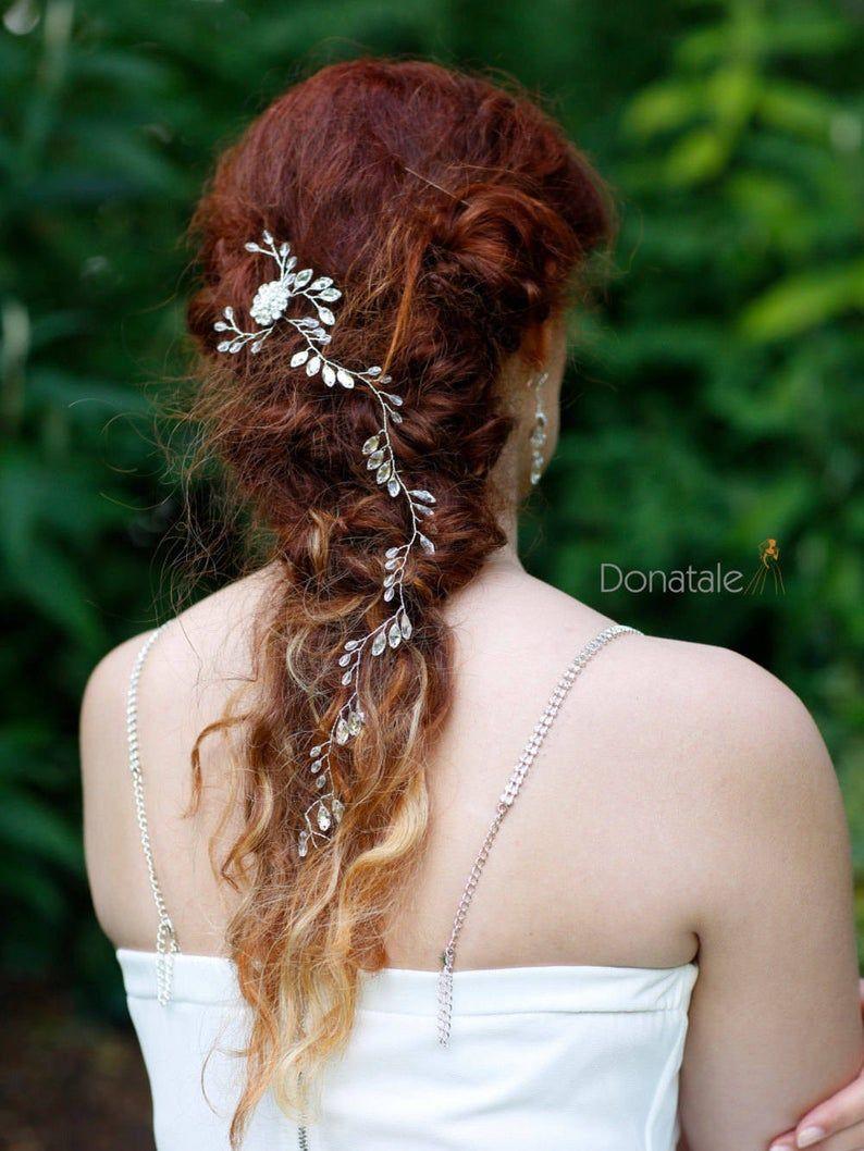 crystal wedding hair vine, bridal hair vine, leaf hair vine