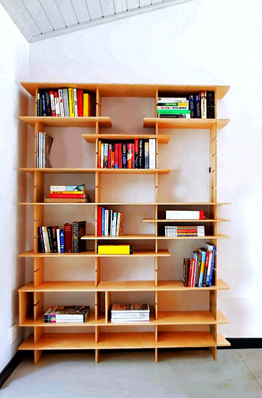 Modular bookcase in poplar plywood  210x30x250 cm h with Built-in shelves interchangeable. Linear bookcase without back ideal for office and home environment.  Follow us on facebook for more details.