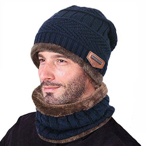 cf0e4fe8e02 ICYMI  Goodbuy Chauffant Bonnet Tricot avec Écharpe de Doublure Polaire
