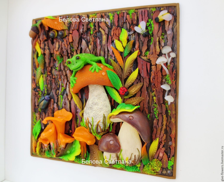 картина грибы из пластилина