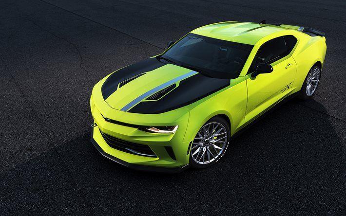 Chevrolet Camaro Turbo AutoX Concept, supercars, 2016, coupe, lime camaro