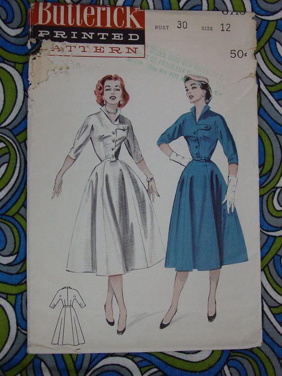 Vintage Pattern 1950s Butterick No.6710 Dress, Size 12