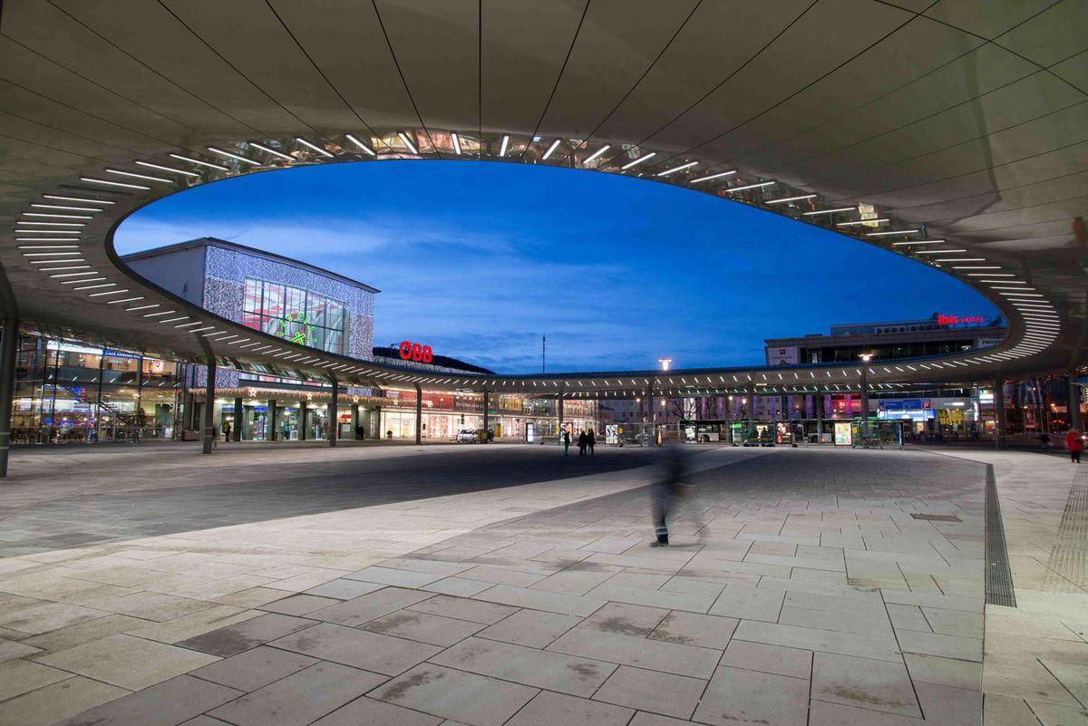 Golden Eye, Graz Main Station, Local Transport Hub, Zechner & Zechner Architects, Austria, Custom Alucobond Spectra A2