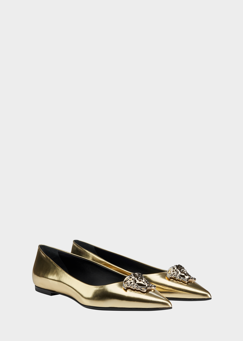 VERSACE Pointed Metallic Palazzo Flats. #versace #shoes #flats