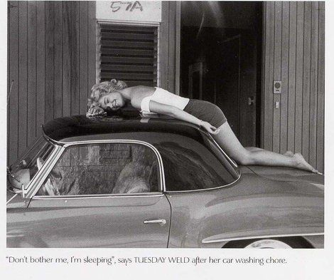 Tuesday Weld with her Mercedes Benz 190 SL