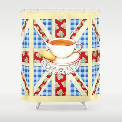 Union Jack and a Cup of Tea Shower Curtain by #PatriciaSheaDesigns on #Society6 free worldwide shipping until April 27th 2014 :)