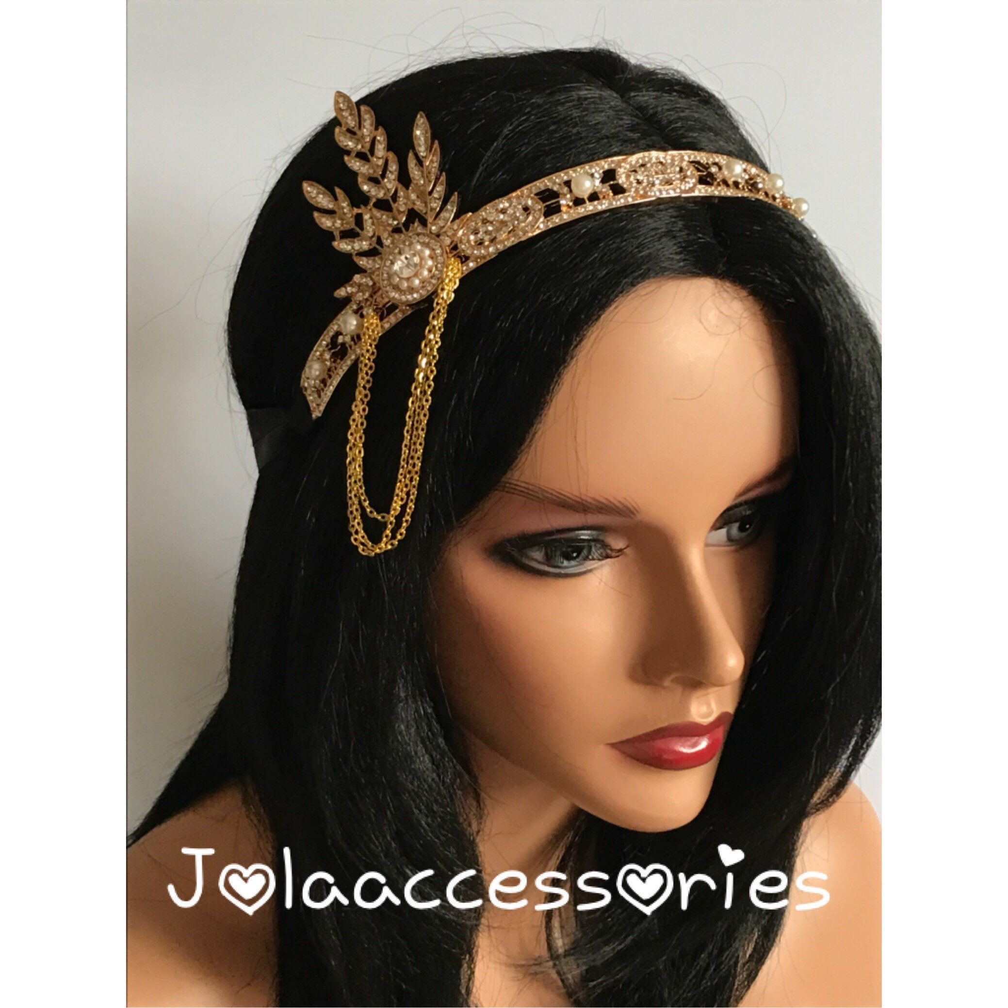 Gold Great Gatsby 1920s headband Tiara Art Deco headpiece wedding bridal headband Great Gatsby flapper hair accessories wedding bridesmaid #flapperhair