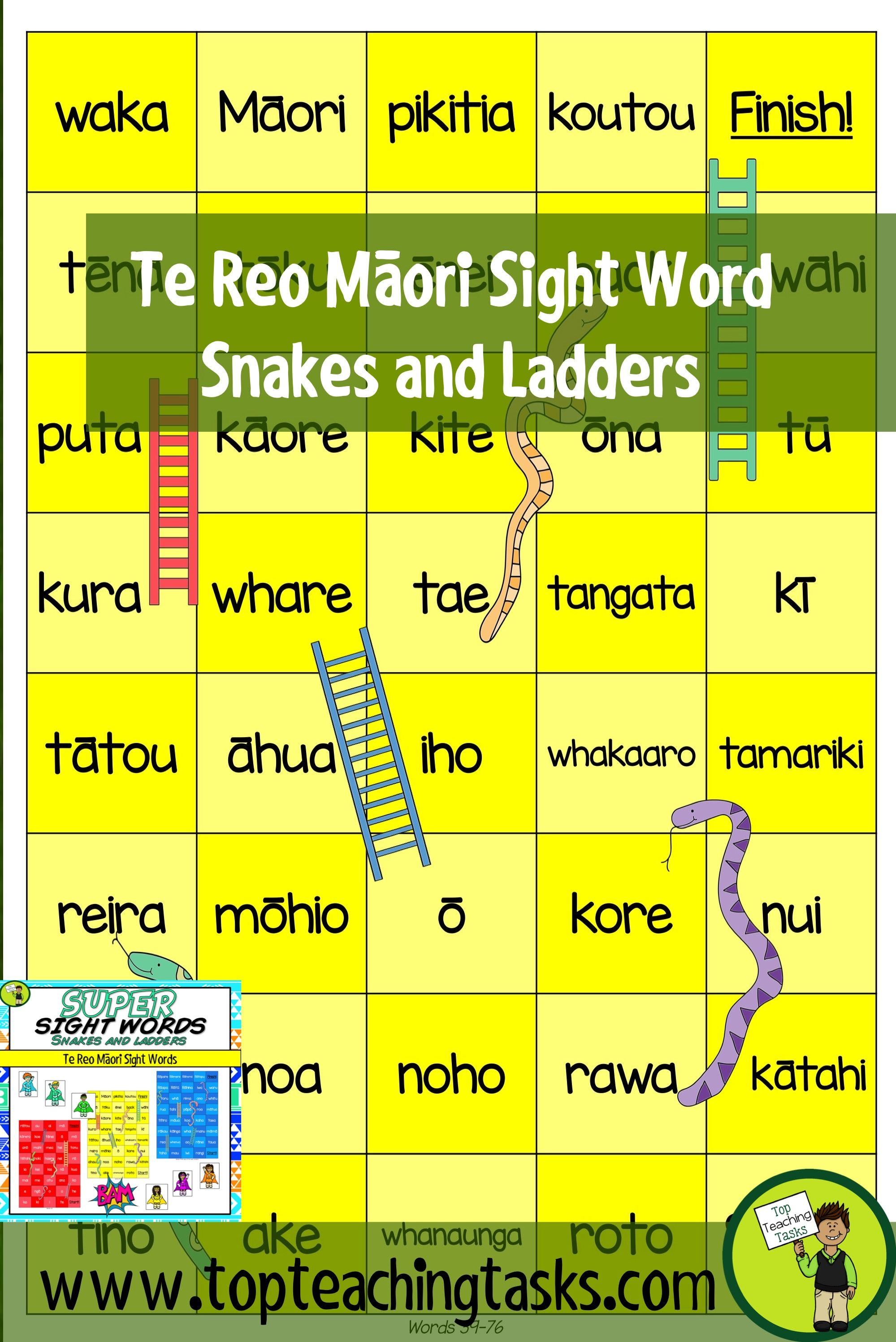 Te Reo Mori Sight Words Snakes And Ladders Game The New Zealand