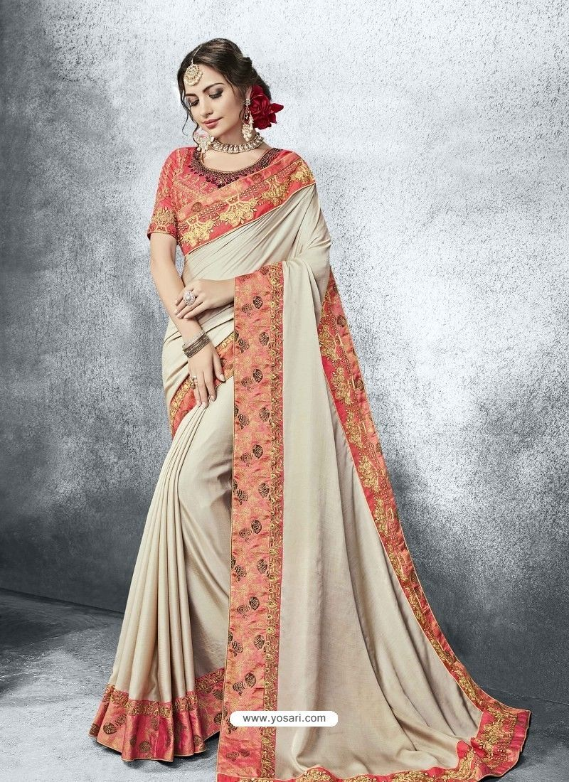 938aac38c1a Light Beige Moss Heavy Border Embroidered Party Wear Saree ...