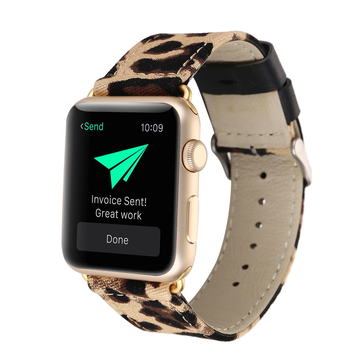 3 99 Leopard Print Genuine Leather Watch Band For Apple Watch Series 3 2 1 38mm 42 38mm Apple Watch Band Apple Watch Bands Apple Watch Accessories
