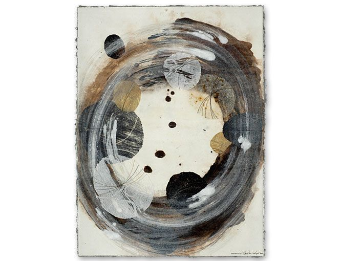 David Owen Hastings  Meditation Ⅲ2007  monotype, collage, stitching on paper  Thanks toneutralnotes