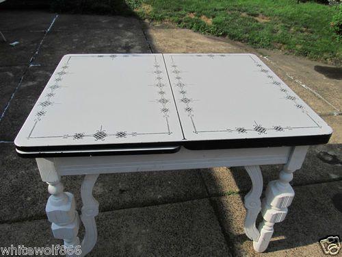 Vintage White Black Porcelain Enamel Top Kitchen Table Ebay Vintage Kitchen Table Top Kitchen Table Kitchen Table