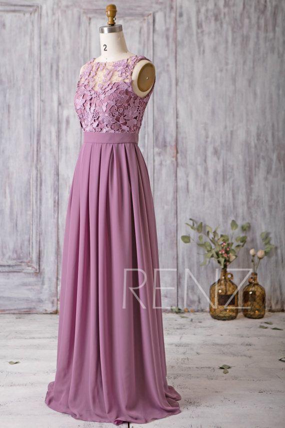 2017 Mauve Bridesmaid Dress Long Dress Lace Illusion Wedding | Boda ...