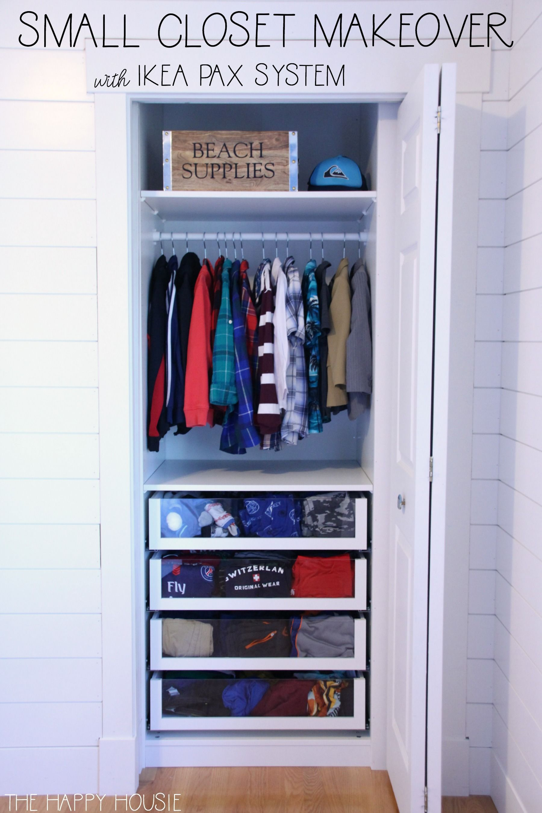 Small Reach In Closet Makeover With Ikea Pax Ikea Pax Closet Closet Makeover Small Closet Hacks