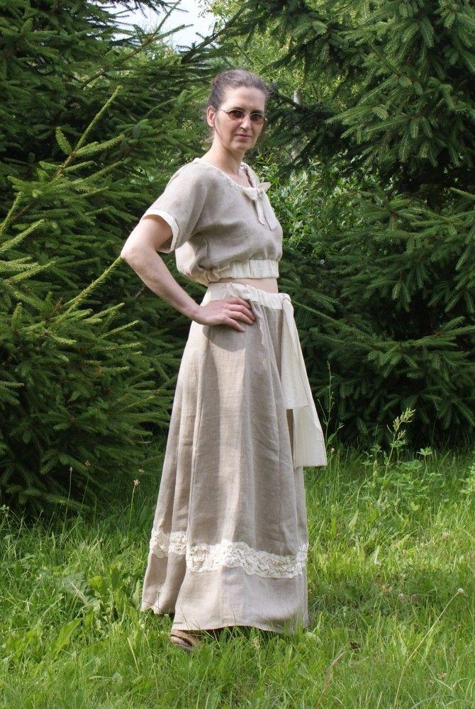 Long Linen Skirt and Short Linen Blouse, $110.00, via Etsy.
