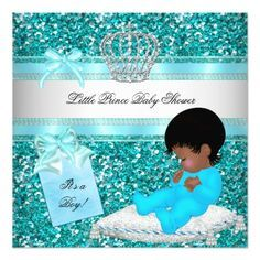 Glitter Baby Shower Boy Teal Little Prince Crown Invitation Zazzle Com Glitter Baby Shower Baby Boy Shower Boy Shower