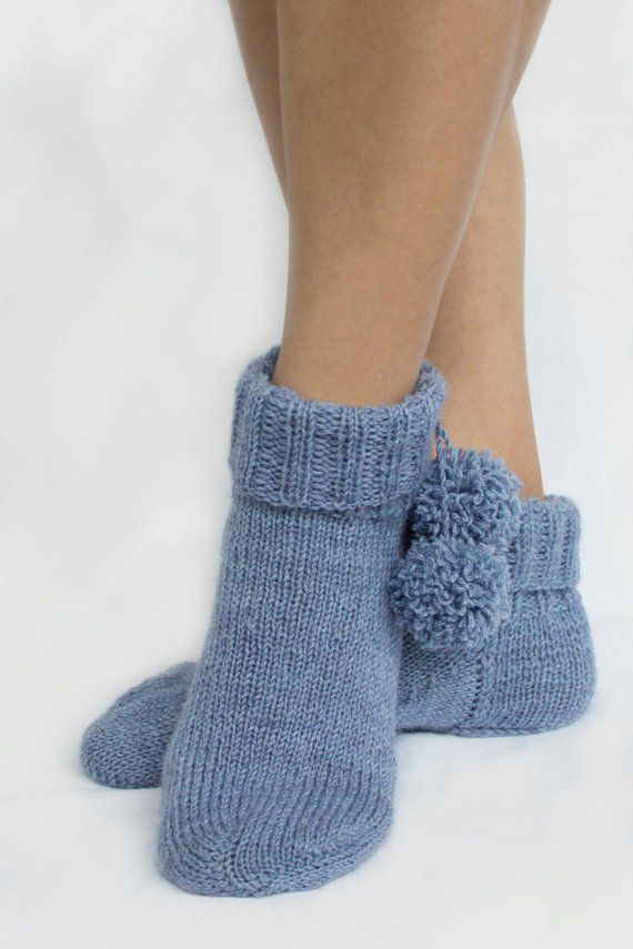 Warm knitted socks with buboes, socks slippers, woolen socks winter accessory beautiful gift for women and girl, socks blue color
