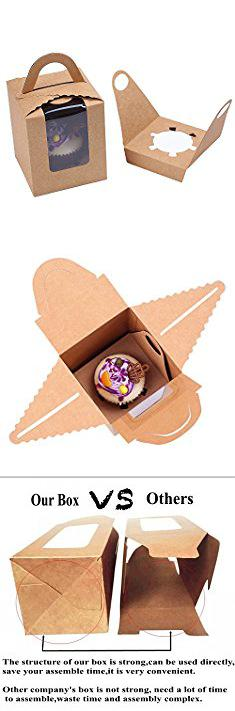 Clear Bakery Boxes. Clear Bakery Pastry Brown Kraft Paper Single Cupcake Boxes With Window And Handle Wholesale(50PCS).  #clear #bakery #boxes #clearbakery #bakeryboxes