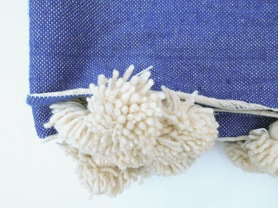 Wool Moroccan Pom Pom Blanket by ANTEVASINS on Etsy