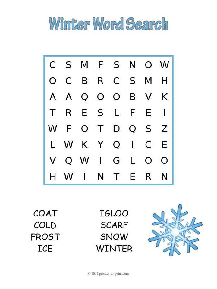 An Easy Winter Word Search To Help Younger Kids Learn How Spell Words Associated With The Colder Months Of Year Free For You Print And Use As