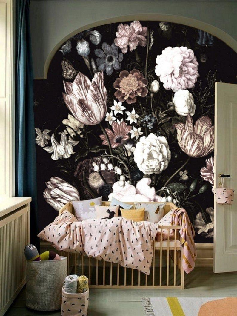 Vintage Floral Wallpaper Nursery Peel And Stick Wallpaper Etsy In 2021 Girl Nursery Wallpaper Wall Wallpaper Vintage Floral Wallpapers