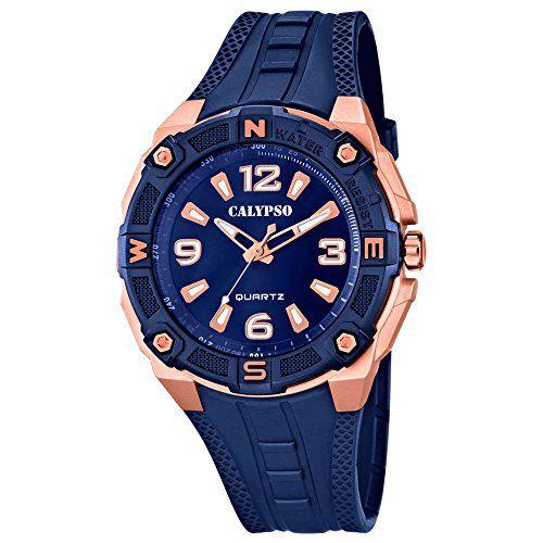 43ee0feb9b94 Calypso de hombre reloj de pulsera Sport Analog PU de pulsera Azul Reloj de  cuarzo esfera azul cobre uk5634 A