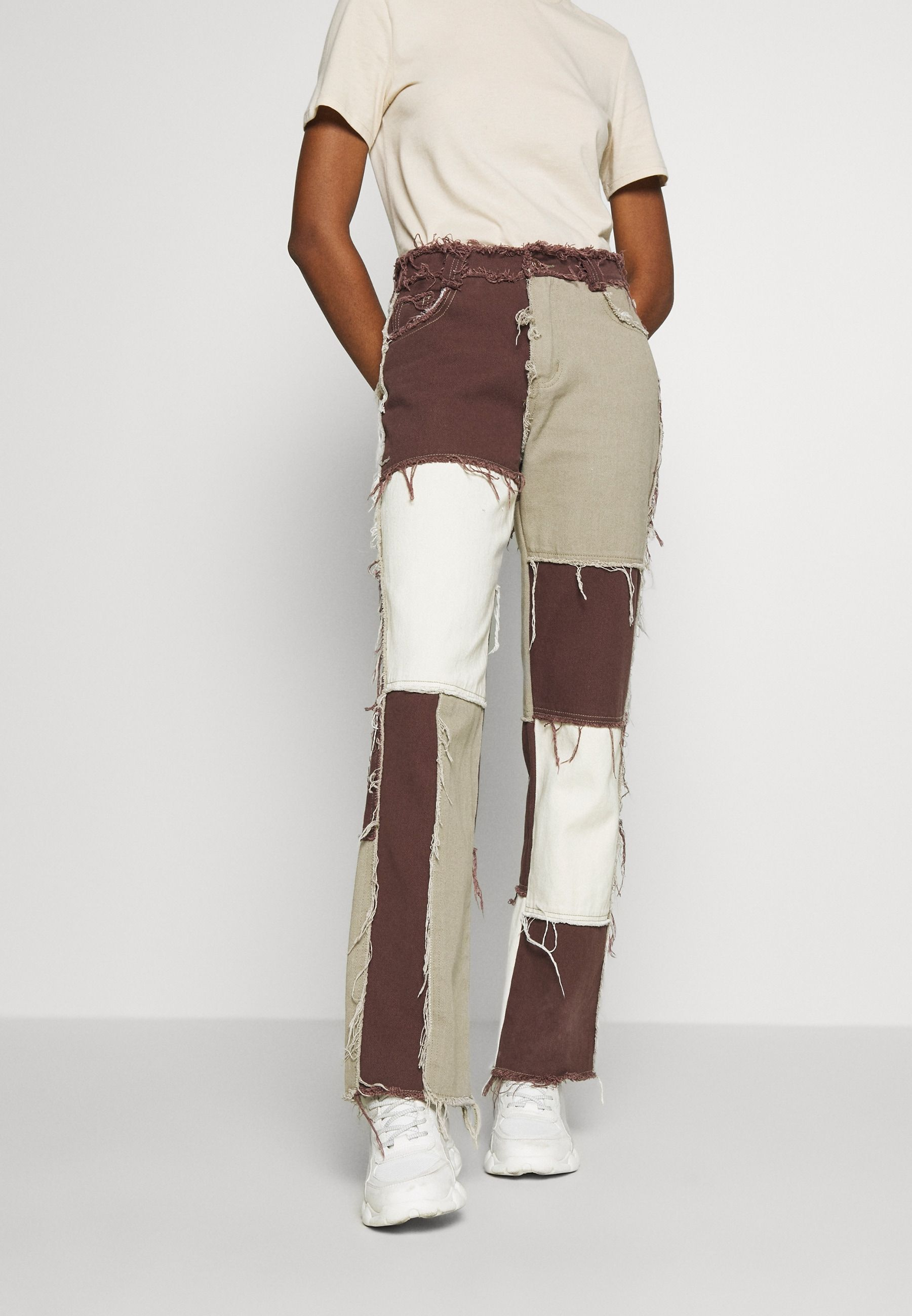 Jaded london patchwork boyfriend fit with frayed seams