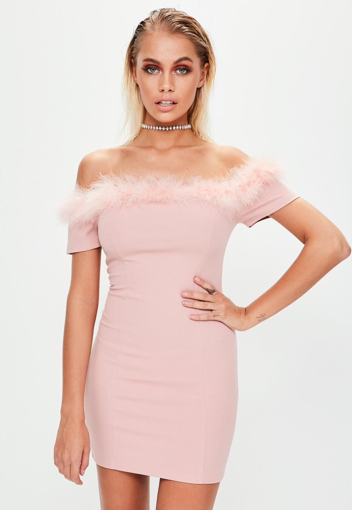 Missguided - Pink Crepe Feather Trim Bardot Bodycon Dress | clothes ...