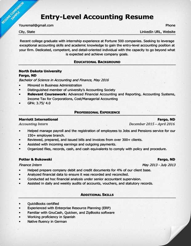 EntryLevel Accounting Resume Example  career  Accountant resume Internship resume Resume